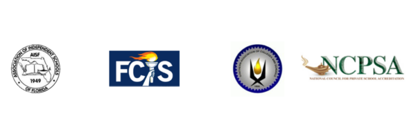 logos of four accrediting agencies: FCIS, SACS, AISF, and NCPSA